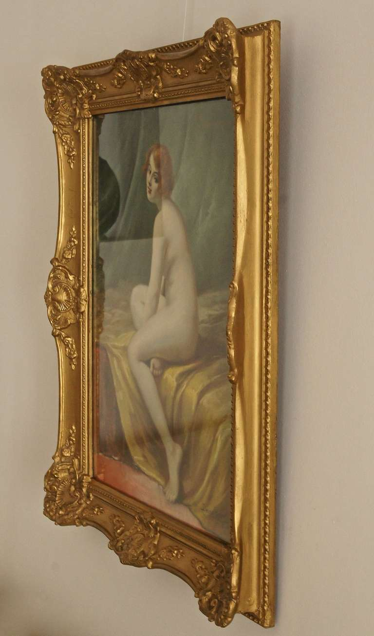 Wood Antique Pastel on Paper Nude in Interior by Lucien Royer Paris 1906 France For Sale