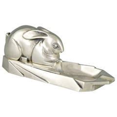 French Art Deco Silvered Bronze Ashtray with Rabbit by Marionnet, 1930