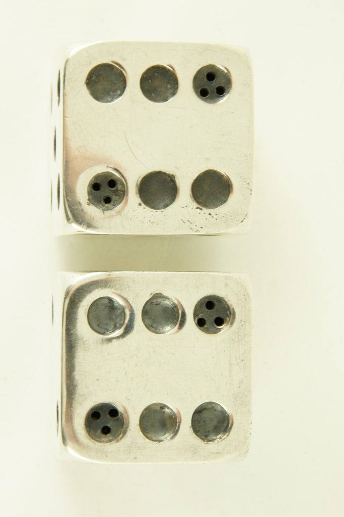 Art Deco Silver Plated Salt And Pepper Dice By Gallia