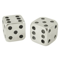Art Deco silver plated salt and pepper dice by Gallia, France.