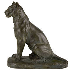 French Bronze Panther Sculpture by Charles Valton, 1910