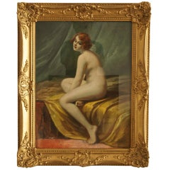 Antique Pastel on Paper Nude in Interior by Lucien Royer Paris 1906 France
