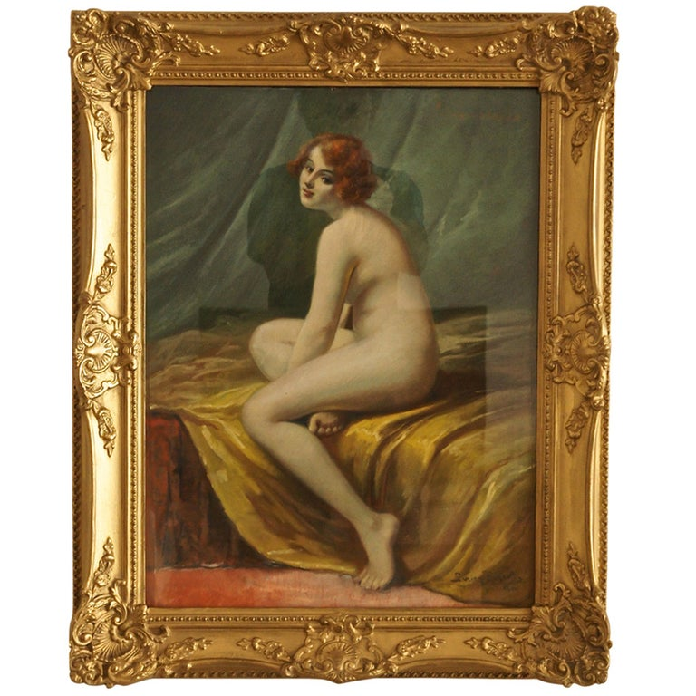 Antique Pastel on Paper Nude in Interior by Lucien Royer Paris 1906 France For Sale