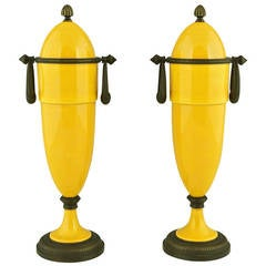 Pair of Yellow Art Deco Vases with Bronze Mounts by Paul Milet for Sevres