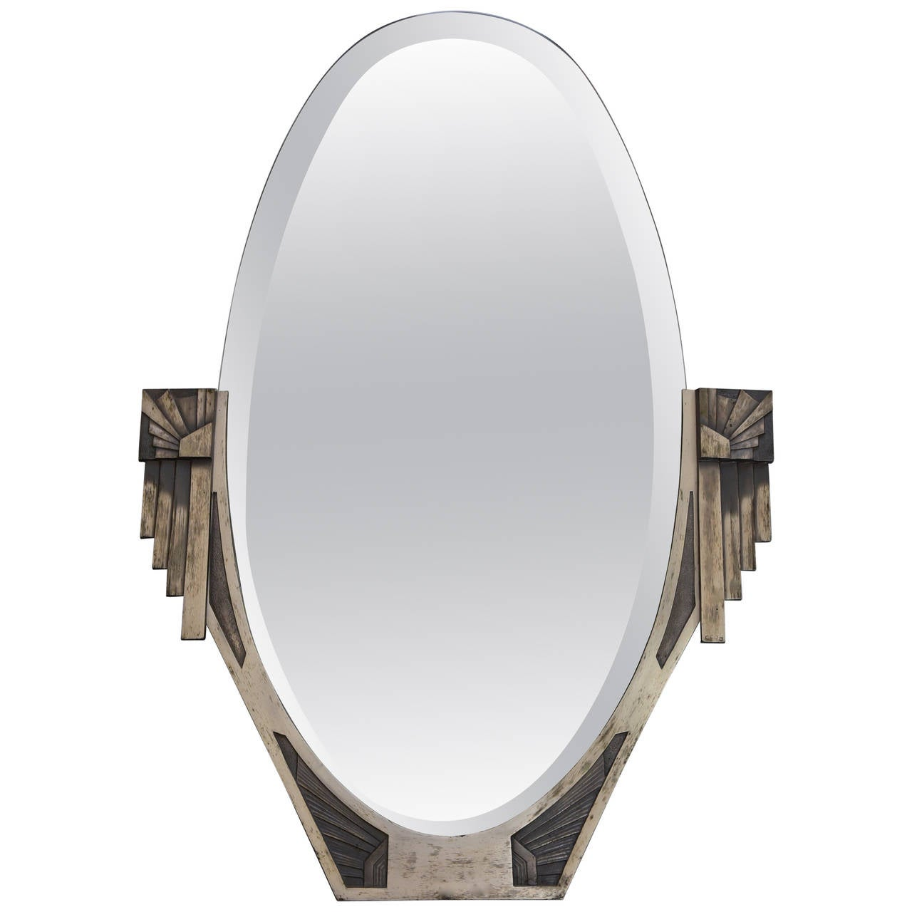French art deco bronze mirror with beveled glass signed for Beveled glass mirror