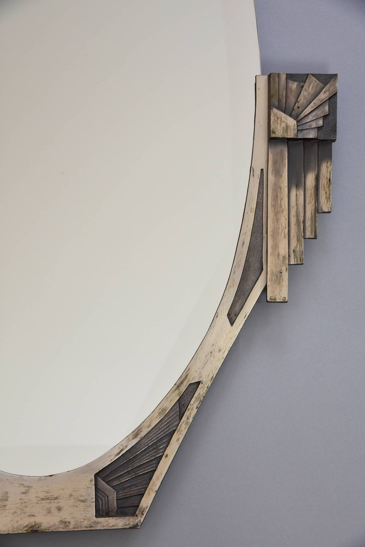 Oval Art Deco Mirror With Beveled Glass Signature Cero Style