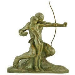 The Young Archer Bronze Sculpture By Amadeo Gennarelli, 1930