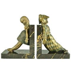 Art Deco Bronze Doll Bookends by Alexandre Kelety for Etling Foundry