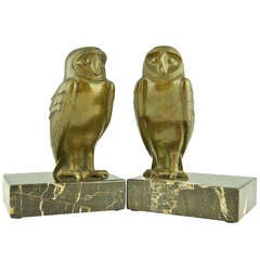 A pair of Art Deco bronze owl bookends by G. Lavroff, Guillemard foundry.