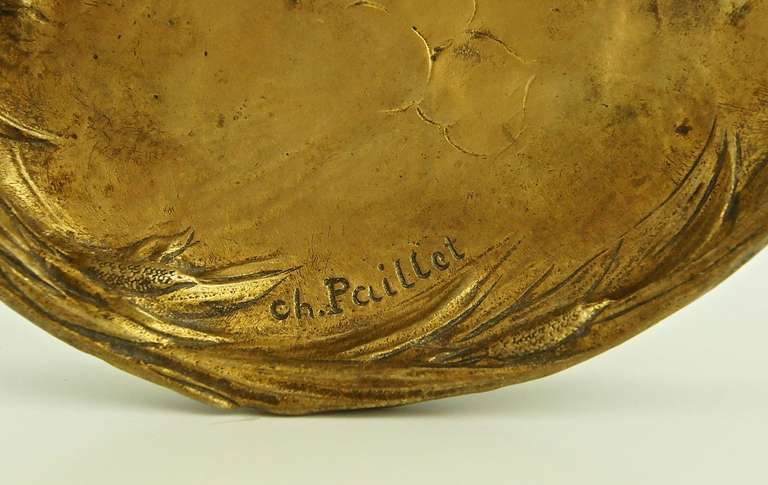 Antique bronze tray with a sitting hare by Charles Paillet, France 1900 2