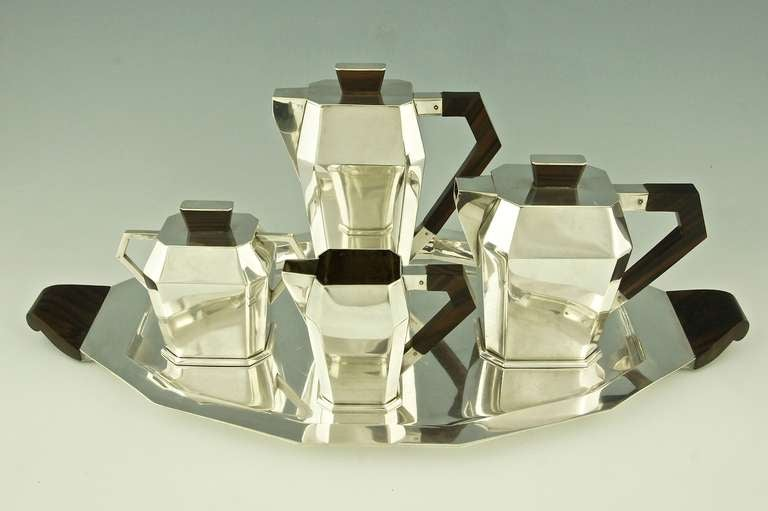 5 Piece Silver Plated Art Deco Tea and Coffee Set with Wooden Handles image 2