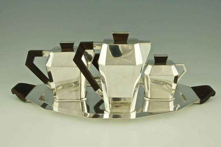 5 Piece Silver Plated Art Deco Tea and Coffee Set with Wooden Handles image 4