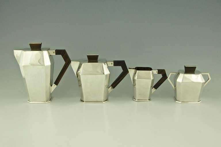 5 Piece Silver Plated Art Deco Tea and Coffee Set with Wooden Handles image 6