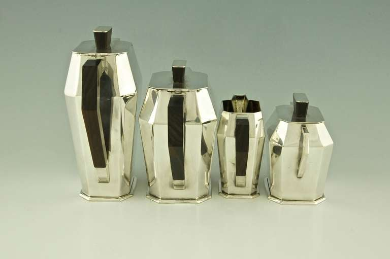 5 Piece Silver Plated Art Deco Tea and Coffee Set with Wooden Handles 7