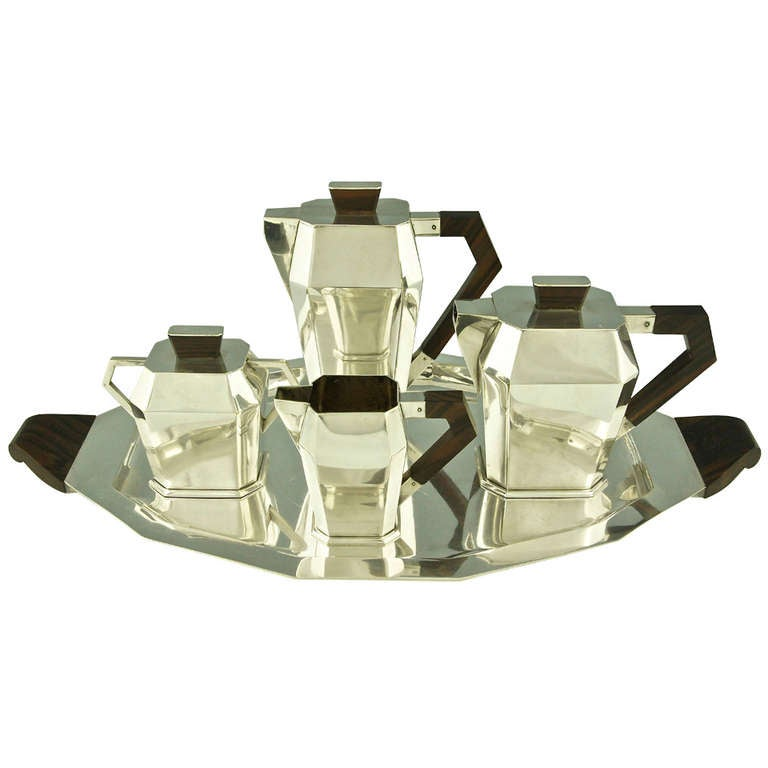 5 Piece Silver Plated Art Deco Tea and Coffee Set with Wooden Handles