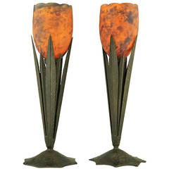 Pair of Delatte Art Deco Table Lamps with Orange and Blue Glass