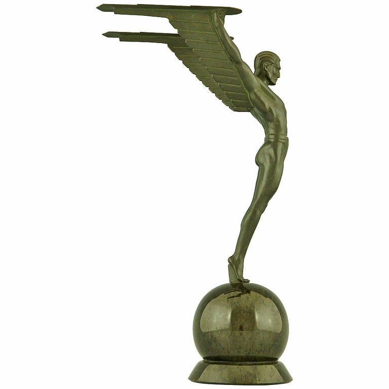 Icarus, an Art Deco Sculpture of a Winged Male Nude Attributed to Schmidt Hofer at 1stdibs