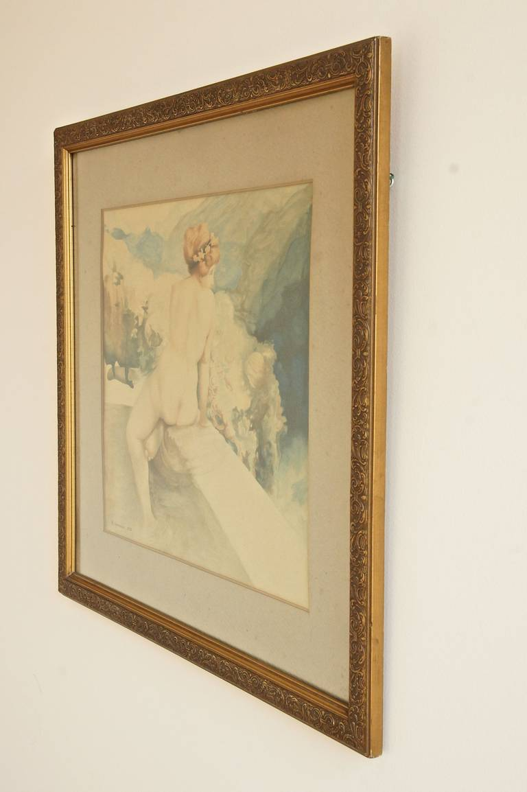 Pair of Art Nouveau Watercolor Paintings with Nudes by A. Crommen ...