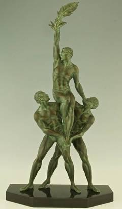 """Victory"" Art Deco sculpture of 3 athletes by Pierre Le Faguays."