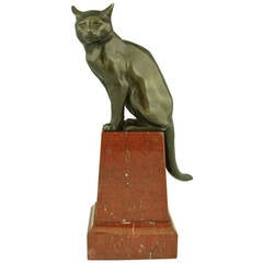 Art Deco Bronze of a Sitting Cat, France 1920