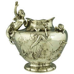 Art Nouveau Vase with Mermaid and Cupids by W. Hareng