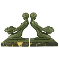 Art Deco Bookends with Nudes by Max Le Verrier, France, 1930