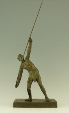 Art Deco bronze of a javelin thrower by Demetre Chiparus.