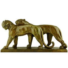 Art Deco Bronze Sculpture of Two Panthers by 