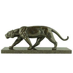 French Art Deco Bronze sculpture of Walking Panther by Alexandre Ouline 1930