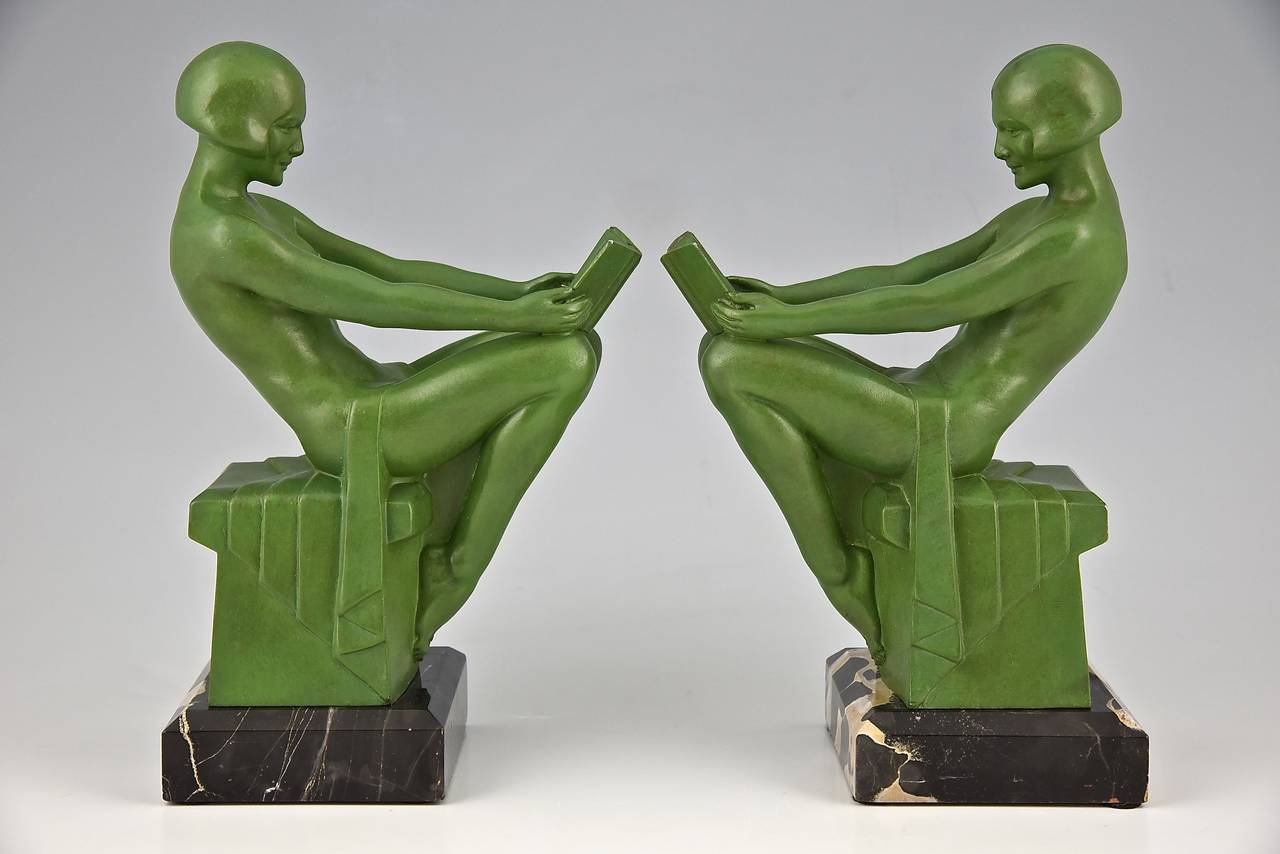 French Art Deco Bookends Reading Nudes by Max Le Verrier 1930