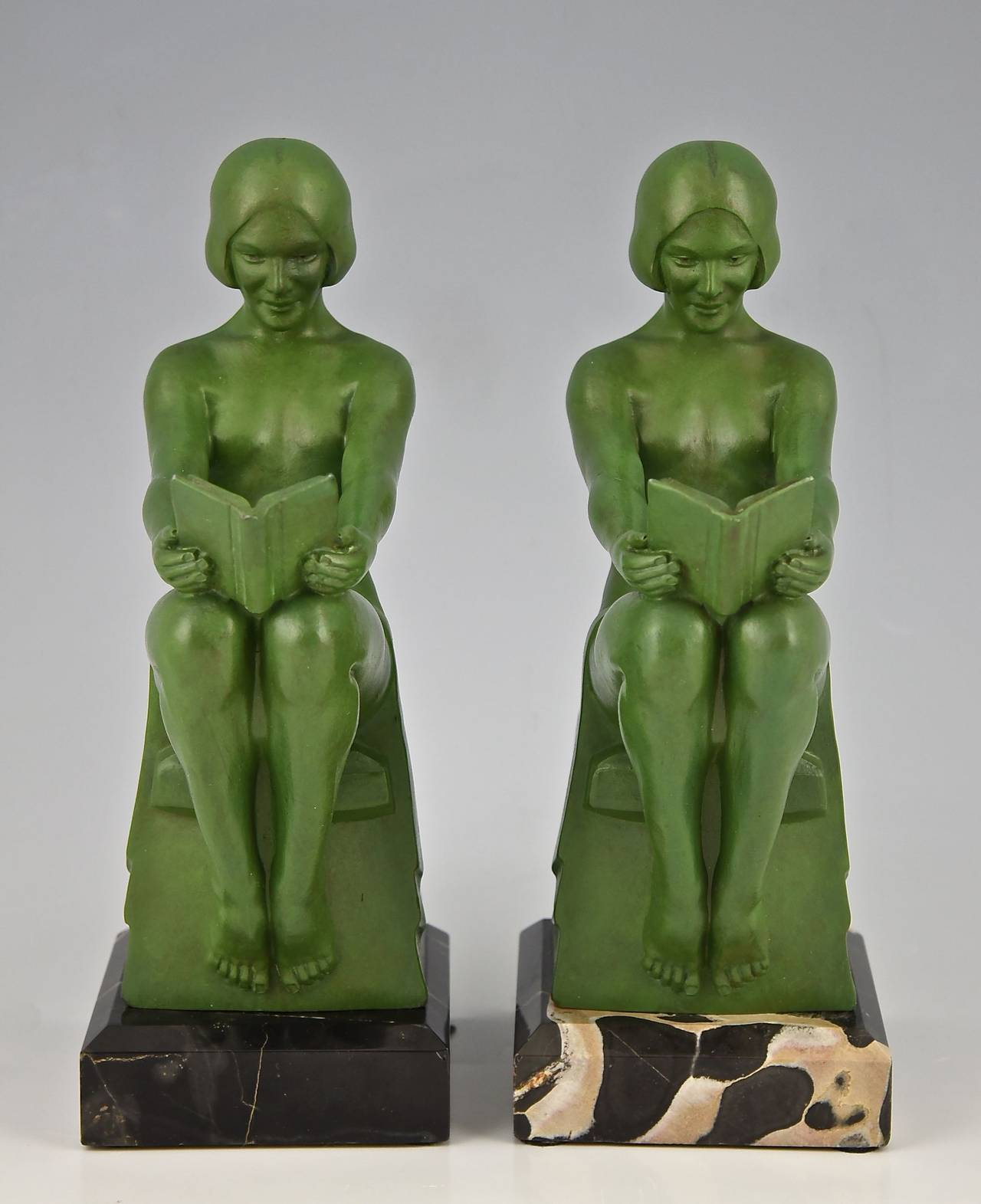 Patinated Art Deco Bookends Reading Nudes by Max Le Verrier 1930