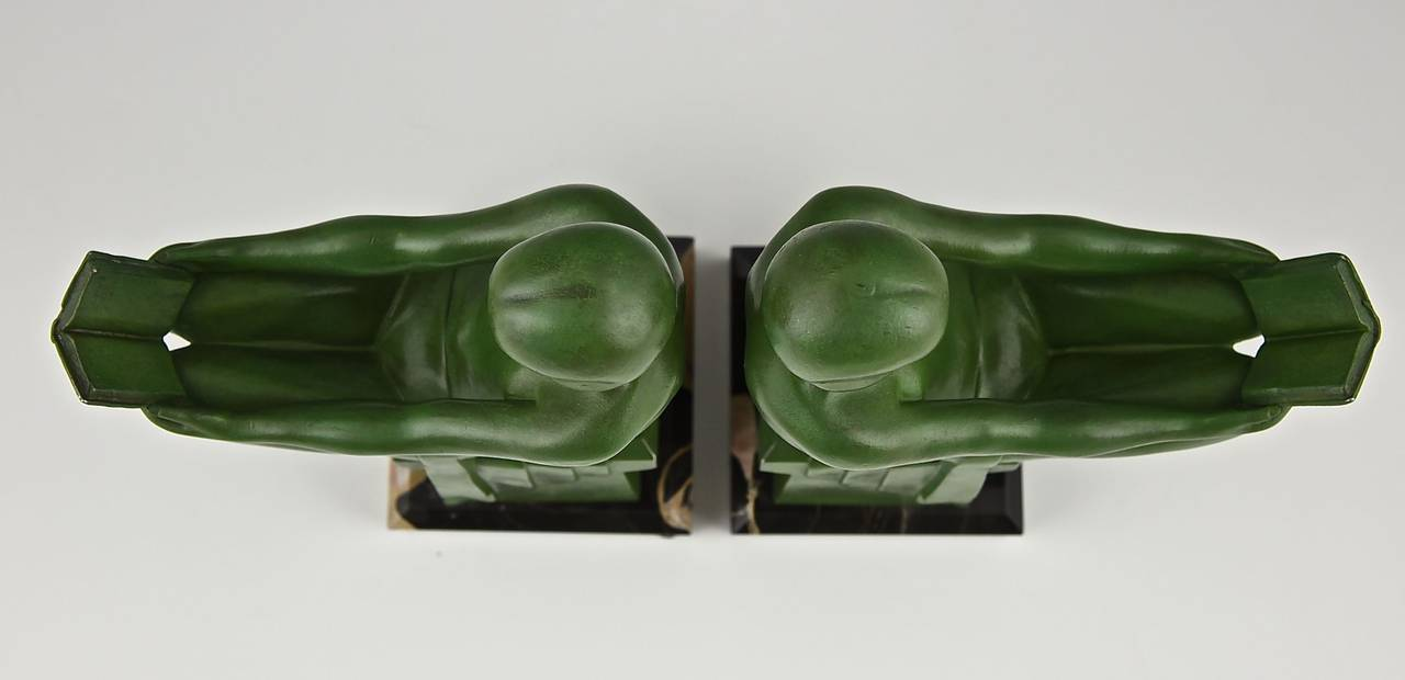 Art Deco Bookends Reading Nudes by Max Le Verrier 1930 2