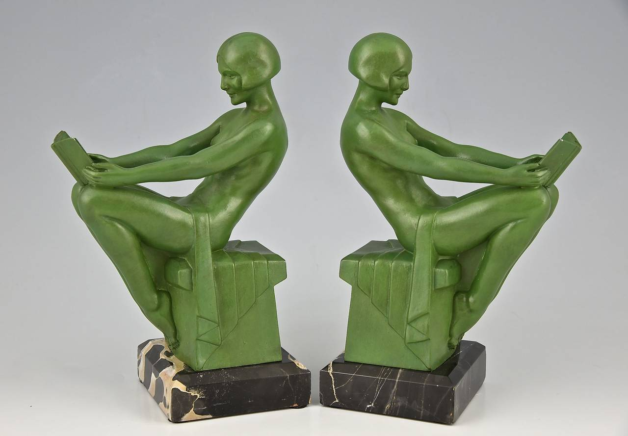 20th Century Art Deco Bookends Reading Nudes by Max Le Verrier 1930