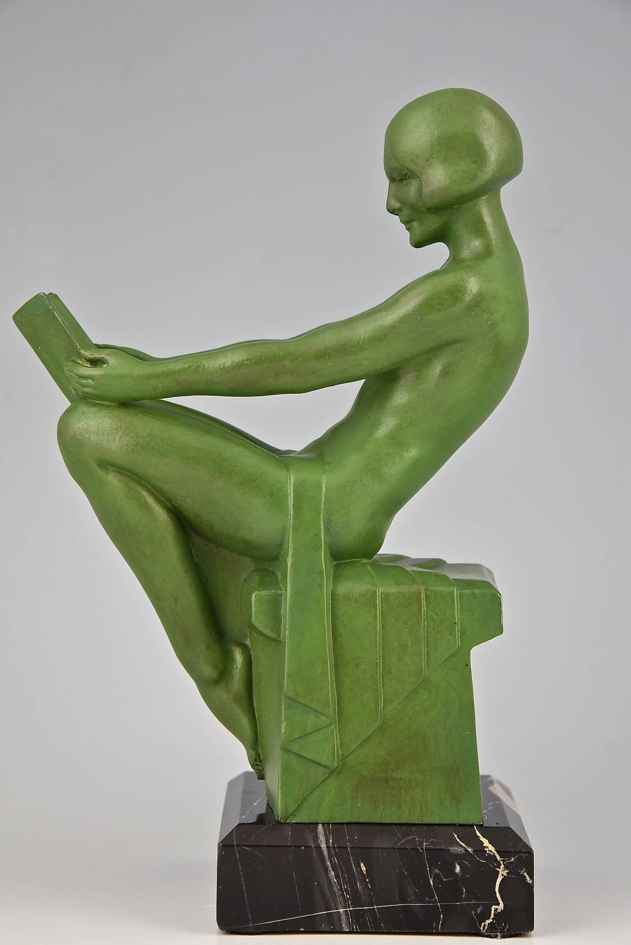 Marble Art Deco Bookends Reading Nudes by Max Le Verrier 1930