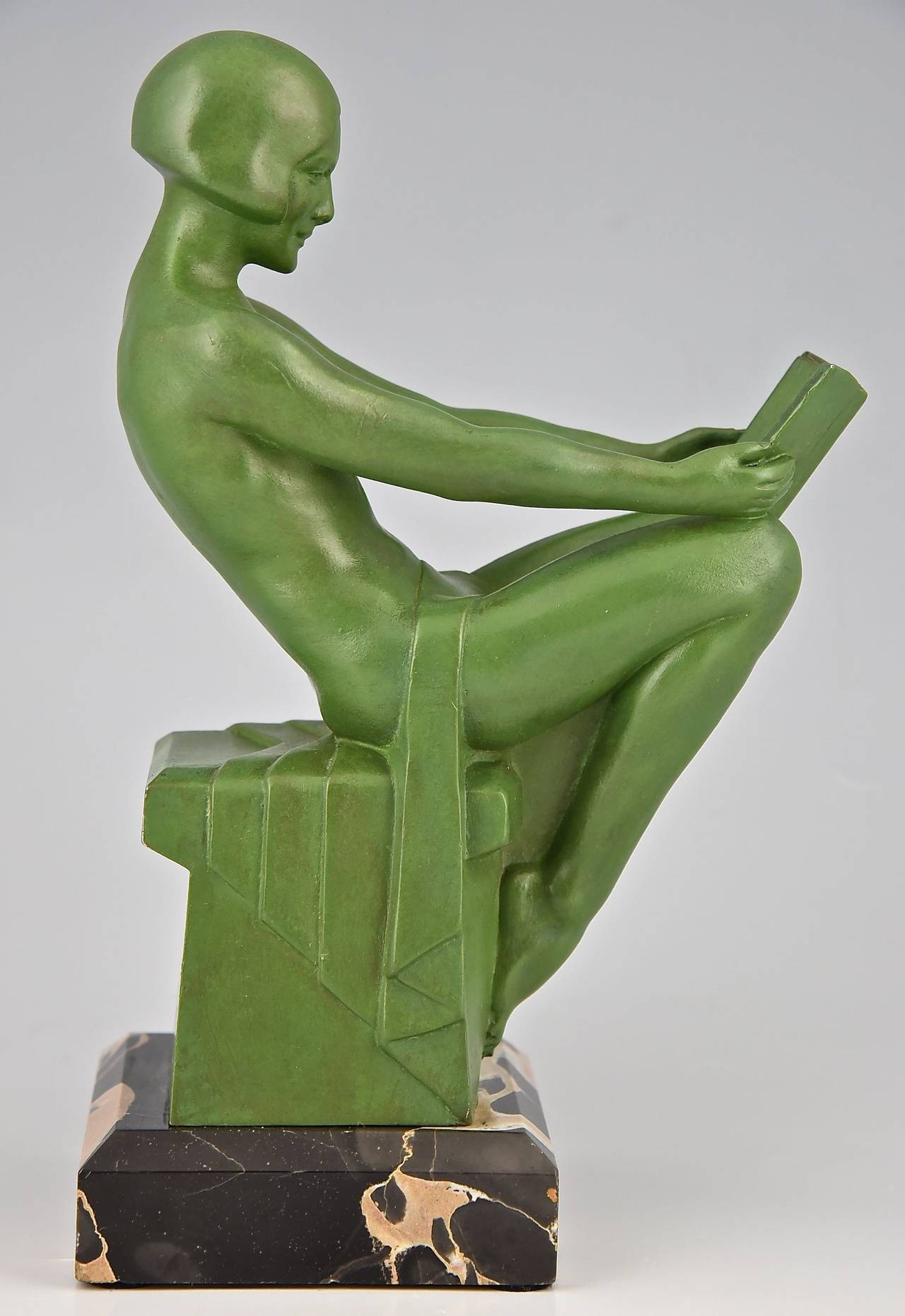 Art Deco Bookends Reading Nudes by Max Le Verrier 1930 1
