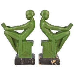 Art Deco Bookends Reading Nudes by Max Le Verrier 1930