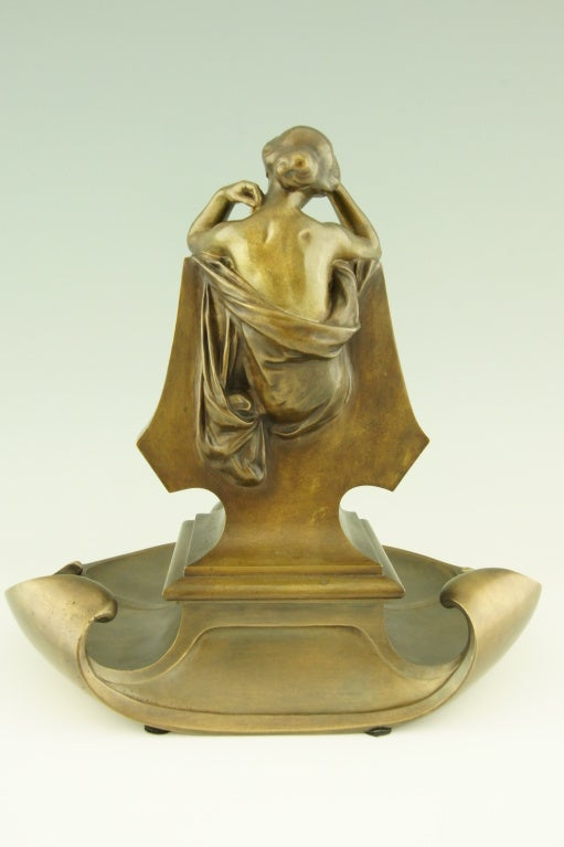 French Art Nouveau bronze inkwell by Max Blondat.