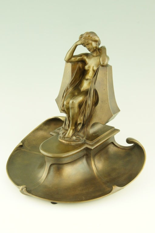 20th Century Art Nouveau bronze inkwell by Max Blondat.