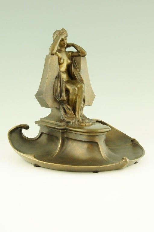 Bronze Art Nouveau bronze inkwell by Max Blondat.