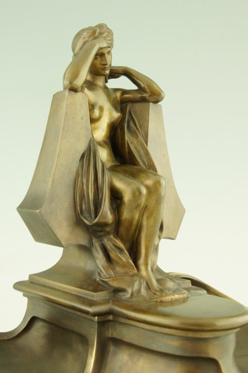 Art Nouveau bronze inkwell by Max Blondat. 1