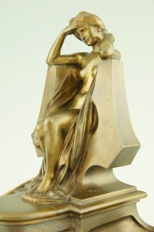 Art Nouveau bronze inkwell by Max Blondat. 2