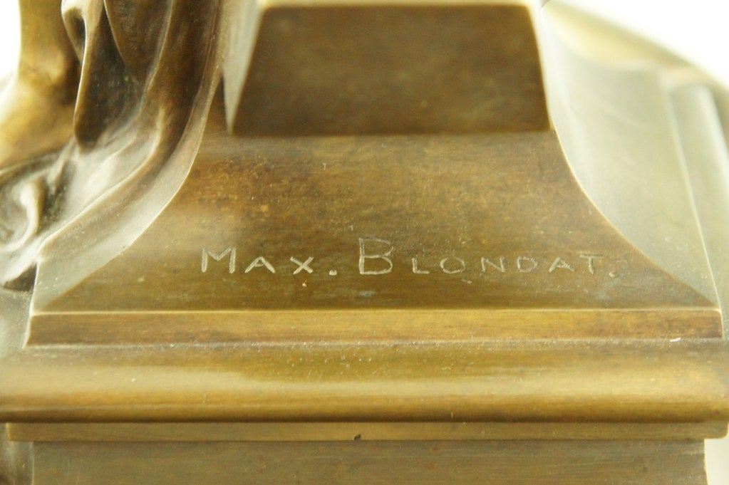 Art Nouveau bronze inkwell by Max Blondat. 3