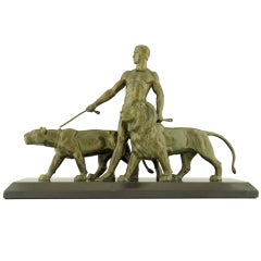Art Deco Bronze Sculpture of a Man with Lions by Ouline