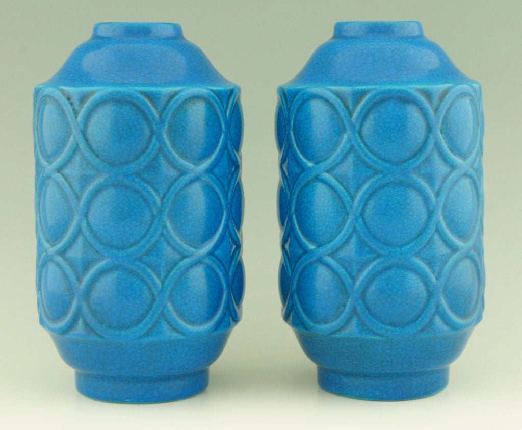 A pair of Art Deco turquoise crackle vases by Boch Frères. image 2