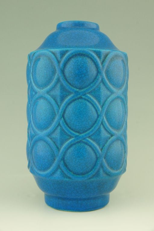 A pair of Art Deco turquoise crackle vases by Boch Frères. image 3