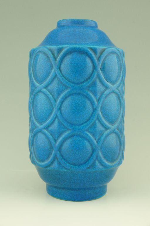A pair of Art Deco turquoise crackle vases by Boch Frères. image 4