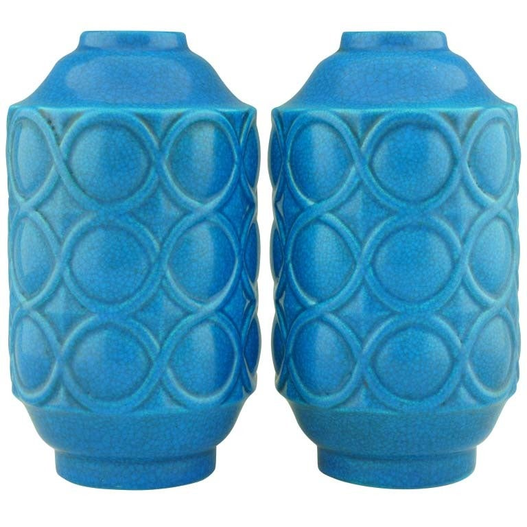A pair of Art Deco turquoise crackle vases by Boch Frères.