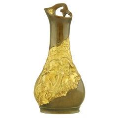 Art Nouveau Gilt & Bronze Flower Vase by Korschann