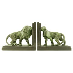 Pair of Art Deco Lion Bookends by Carlier
