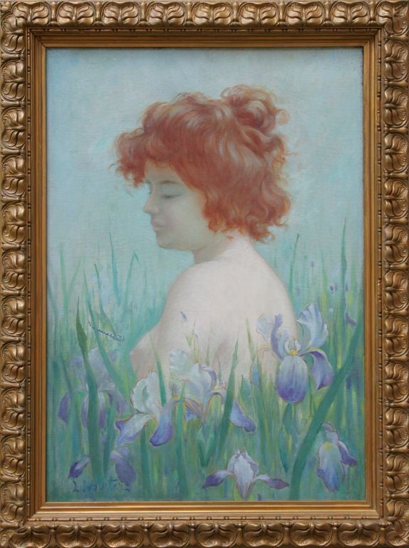 Art Nouveau Oil Painting Of A Nude With Irises By Horter -5570